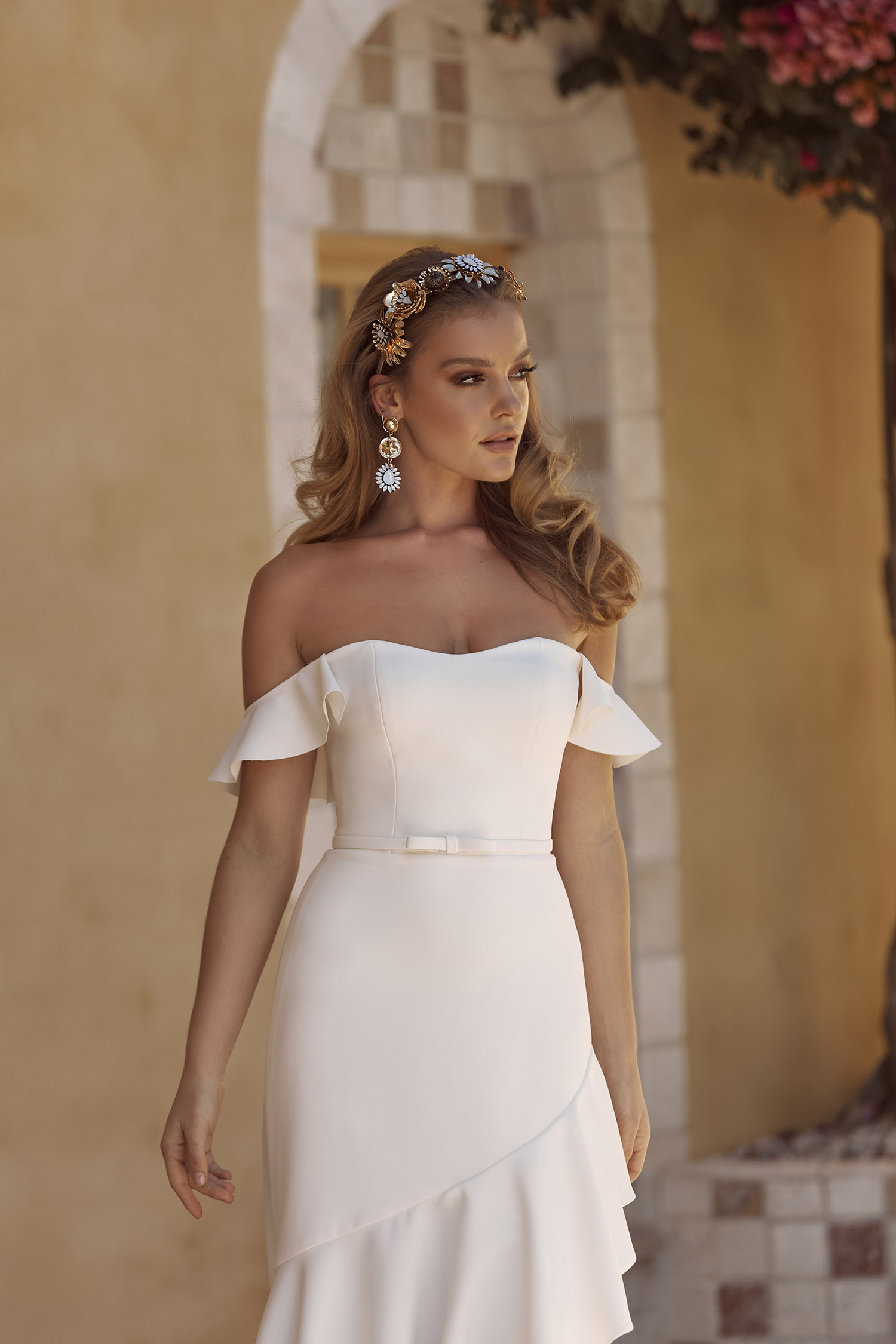 Blake Ml18012 Hi Low Fit Flare Silhouette Semi Sweetheart Neckline With Detachable Belt And Flutter Sleeves Included With Zip Closure Finish Wedding Dress Madi Lane Bridal5