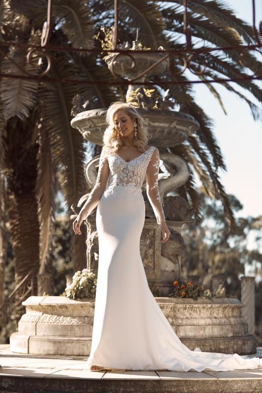 Brae Ml18033 Full Length Fit Flare Silhouette V Neckline With Floral Lace And Mid V Back Sheer Illusion Finish Wedding Dress Madi Lane Bridal2