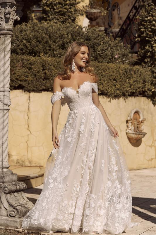 Brielle Ml19255 Full Length A Line Silhouette Plunging Neckline Embroidered Floral Lace With Detachable Shoulder Straps And Tulle Cross Over Straps Finish Wedding Dress Madi Lane Bridal4