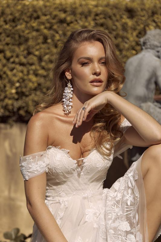 Brielle Ml19255 Full Length A Line Silhouette Plunging Neckline Embroidered Floral Lace With Detachable Shoulder Straps And Tulle Cross Over Straps Finish Wedding Dress Madi Lane Bridal5