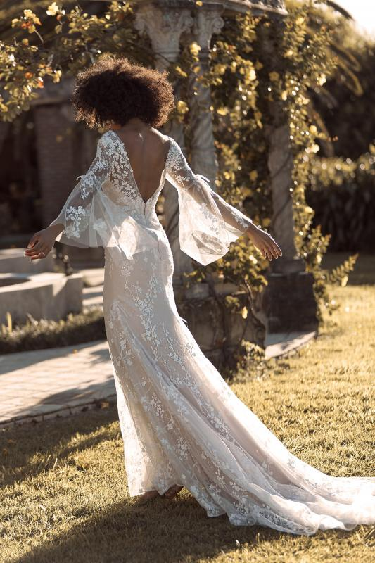 Briony Ml19099 Full Length Fit And Flare Silhouette Embroidered Clear Sequin Lace With A Plunging V Neckline And Illusion Bell Sleeves With Sheer Lace V Finish Wedding Dress Madi Lane Bridal3