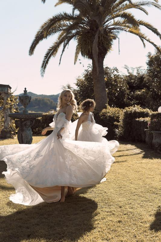 Bronte Ml19009 A Line Gown Sweetheart Neckline Bella Ml19080 A Line Silhouette Embroidered Lace Wedding Dress Madi Lane Bridal1