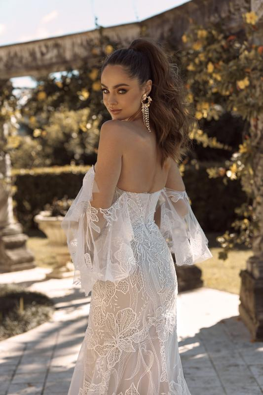 Bryce Ml19444 Full Length Fit And Flare Silhouette Sweetheart Neckline With Sheer Flutter Sleeves Zip Closure And Detachable Sleeves Included Wedding Dress Madi Lane Bridal12