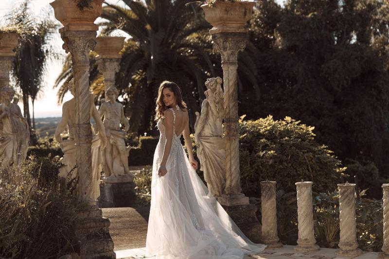 Blaise Ml1921gt Full Length A Line Silhouette Glitter Tulle With V Modest Neckline And Mirror Back Finish Wedding Dress Madi Lane Bridal5