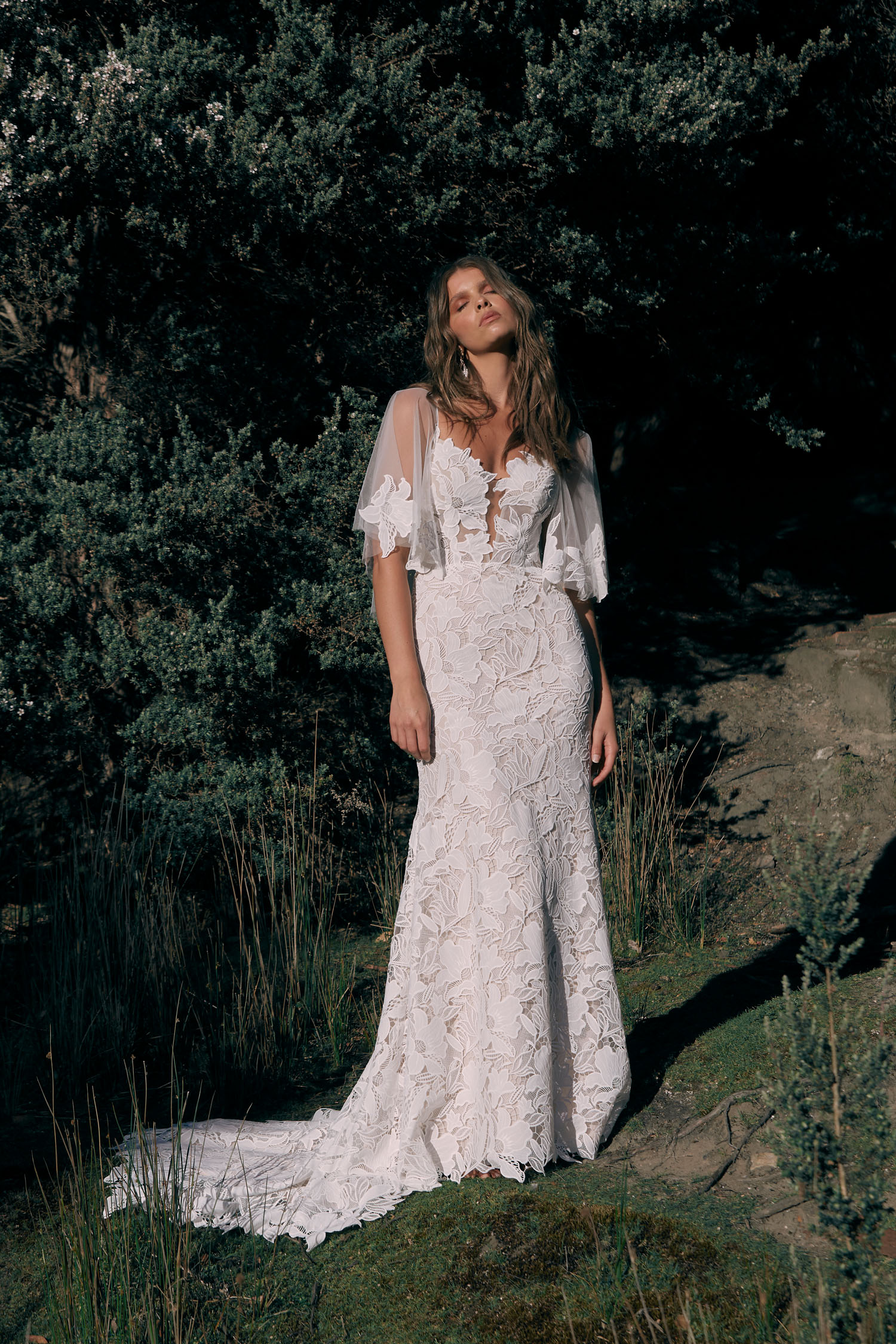 Carlyle Ml20072 Full Length Embroidered Lace Fitted Gown Plunging Neckline Thin Straps Detachable Matching Lace Cape Included Zipper Closure Wedding Dress Madi Lane Bridal 1