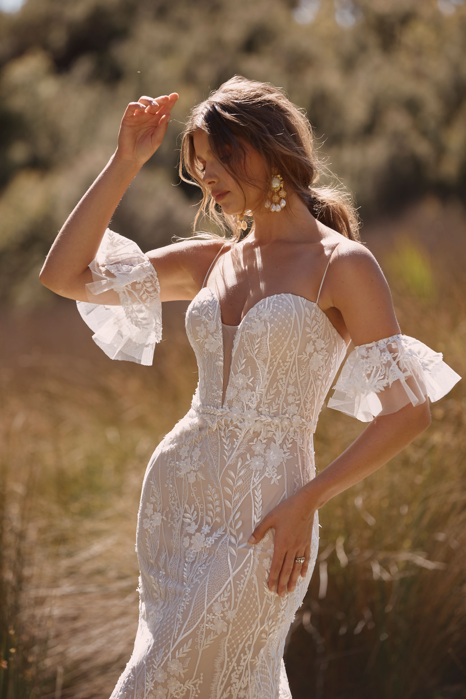 Cayden Ml20045 Full Length 3d And Embroidered Lace Gown With Deep Plunging Sweetheart Neckline Spaghetti Straps Detachable Matching Sleeves Included Zipper Closure Wedding Dress Madi Lane Bridal 2